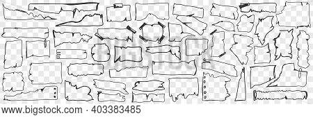 Various Paper Parchment Doodle Set. Collection Of Hand Drawn Parchment Paper With Torn Edges Of Vari
