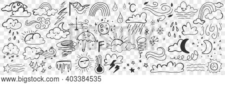 Various Weather Conditions Doodle Set. Collection Of Hand Drawn Clouds Rain Storm Thunder Lightning