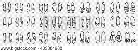 Pairs Of Feminine Shoes Doodle Set. Collection Of Hand Drawn Stylish Elegant Shoes Sandals And Sneak