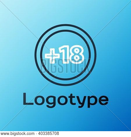 Line Plus 18 Movie Icon Isolated On Blue Background. Adult Content. Under 18 Years Sign. Colorful Ou