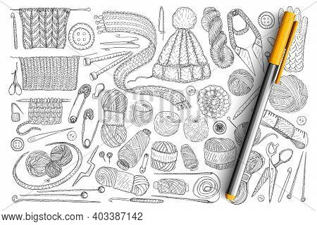 Elements For Knitting Doodle Set. Collection Of Hand Drawn Wool, Knitwear, Needles, Pins, Measure Ta