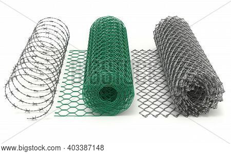 Set Of Wire Mesh (chain Link, Chicken Wire And Barbed Wire) - 3d Illustration