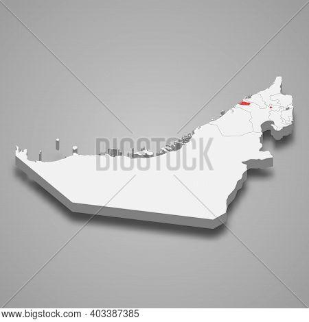 Ajman Emirate Location Within United Arab Emirates 3d Isometric Map
