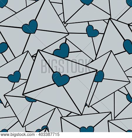 Love Letters. Heart. Seamless Vector Pattern. A Bunch Of Messages With A Heart Stamp. Endless Orname