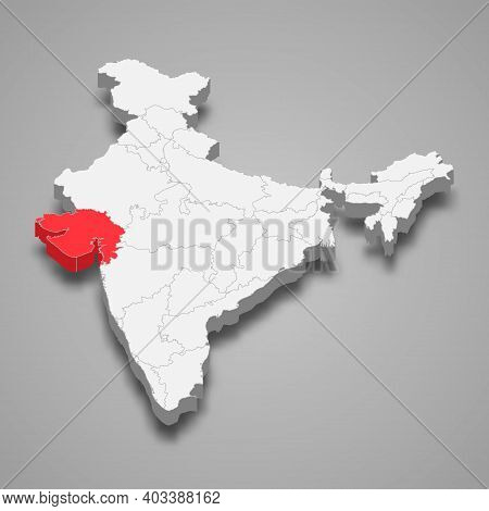 Gujarat State Location Within India 3d Isometric Map