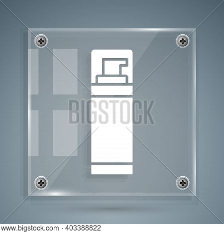 White Shaving Gel Foam Icon Isolated On Grey Background. Shaving Cream. Square Glass Panels. Vector
