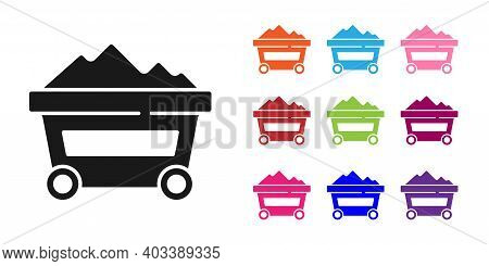 Black Coal Mine Trolley Icon Isolated On White Background. Factory Coal Mine Trolley. Set Icons Colo