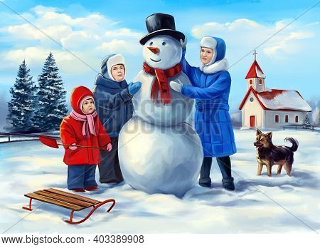 Kids Making Snowman, Winter Outdoor Games, Festive Christmas Card, Art Illustration Painted With Wat