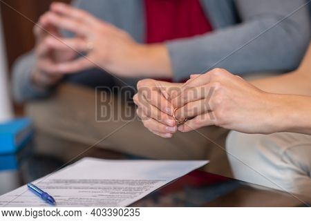 Couple Being About To Sign A Petition For Divorce