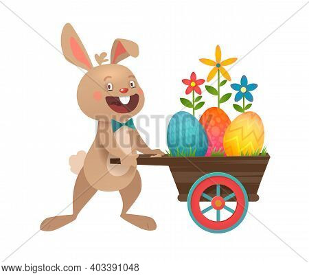 Happy Easter Greeting Card With Eggs And Bunny. Grey Cute Easter Bunny With Colorful Eggs. Vector Il