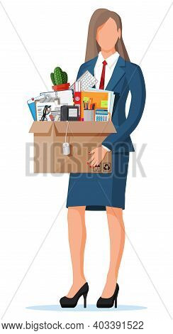 Businesswoman Moving To New Office. Cardboard Box With Folder, Document Paper, Contract, Calculator,