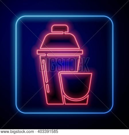 Glowing Neon Cocktail Shaker With Cocktail Glass Icon Isolated On Blue Background. Vector