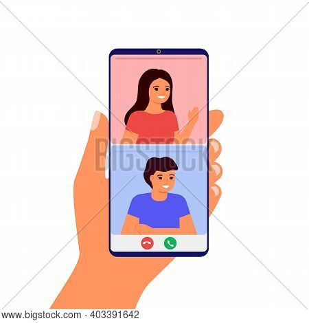 Lover Couple Meet Distance In Video Call Online On Smartphone. Remote Communicate Man And Woman By I