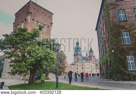 Krakow, Poland - October, 2015: The Thief Tower And Building Is An Old Austrian Hospital On A Wawel