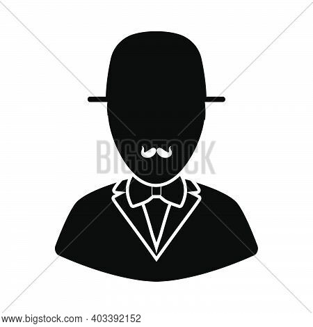 Detective Icon. Black Glyph Design. Vector Illustration.