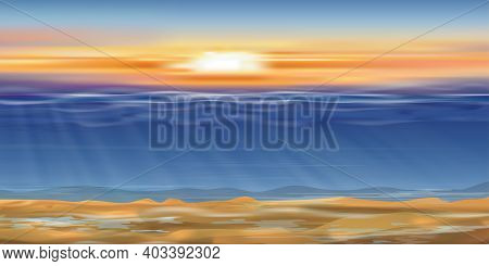 Dramatic Sunset Sky Line With Under Water In Deep Blue On The Island,ocean With Sun Rays Shining On