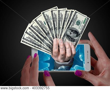 Dollar Money Popping Out From A Phone Screen. Online Payment Or Reward Concept.