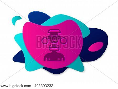 Color African Tribe Male Icon Isolated On White Background. Abstract Banner With Liquid Shapes. Vect