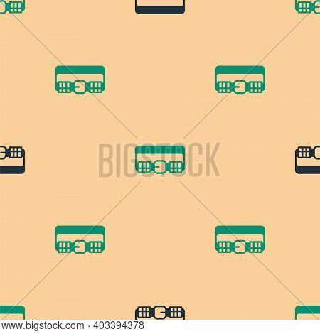 Green And Black Hunting Cartridge Belt With Cartridges Icon Isolated Seamless Pattern On Beige Backg