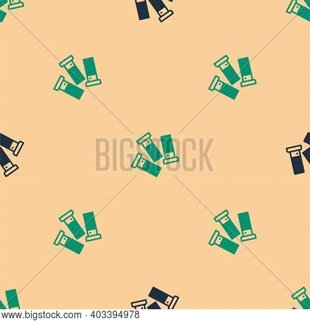 Green And Black Cartridges Icon Isolated Seamless Pattern On Beige Background. Shotgun Hunting Firea