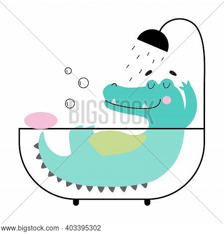 Cute Crocodile Taking Bath, Funny Alligator Predator Animal Character Cartoon Style Vector Illustrat