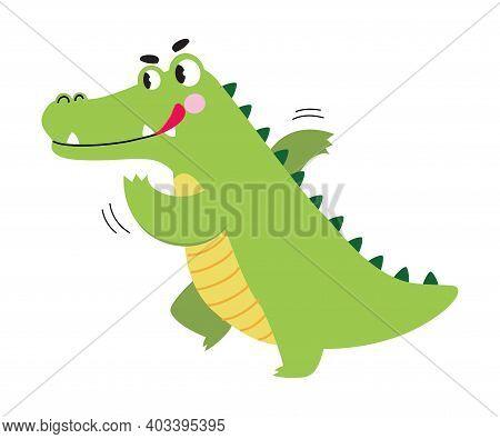Cute Crocodile Running In Hurry, Funny Alligator Predator Green Animal Character Cartoon Style Vecto