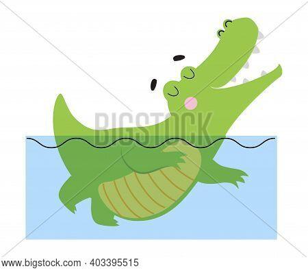 Cute Happy Crocodile Swimming In Water, Funny Alligator Predator Green Animal Character Cartoon Styl