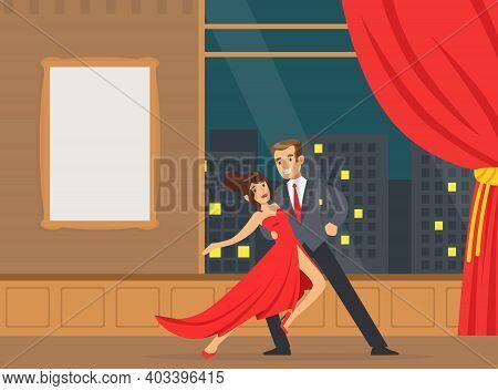 Couple Dancing Tango In Disco Club, Happy Couple Having Romantic Date Cartoon Vector Illustration
