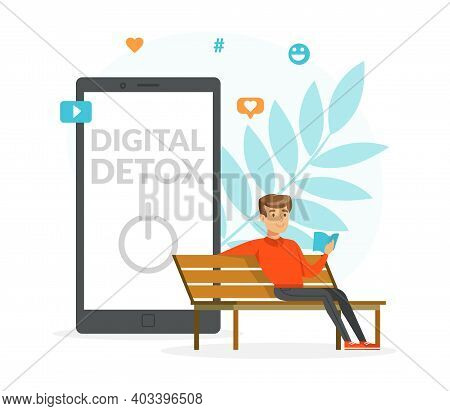 Young Man Disconnecting And Reading Book In The Park, Digital Detox Concept Cartoon Vector Illustrat