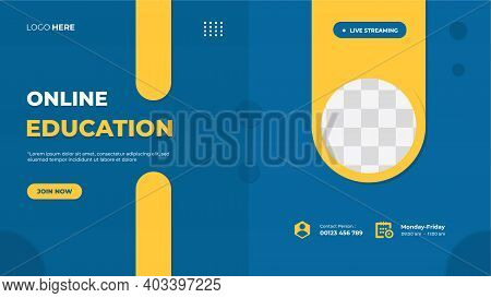 Online Education Website Banner Template With Blue Background And Circle Yellow Frame