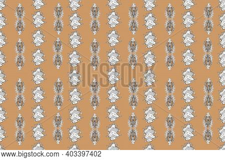 Seamless Texture. Raster Pano With White Floral Elements.