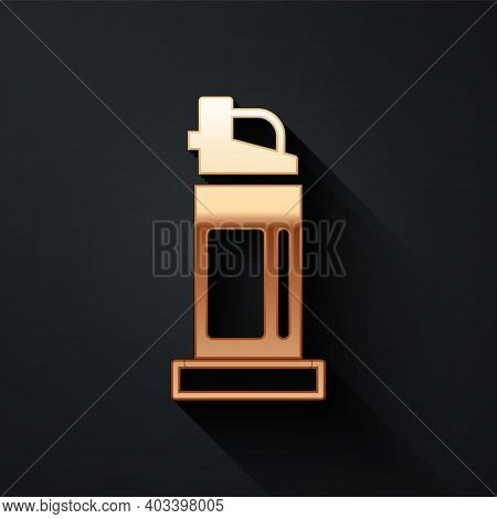 Gold Pepper Spray Icon Isolated On Black Background. Oc Gas. Capsicum Self Defense Aerosol. Long Sha