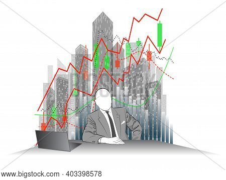 The Image Of A Man In A Business Suit At A Desk Against A Background Of Skyscrapers And Financial Gr
