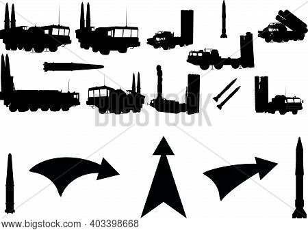 Anti-aircraft Warfare Silhouettes Set. S-300. Silhouettes Of Air Defense Forces.