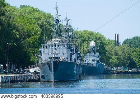 Baltiysk, Russia - June 29, 2010: Battle Ship Docked On Pier