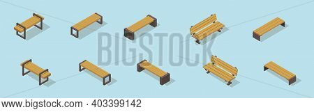 Benches. Set Of Isometric Vector Benches. Wooden Benches. Park Benches. Outdoor Benches.