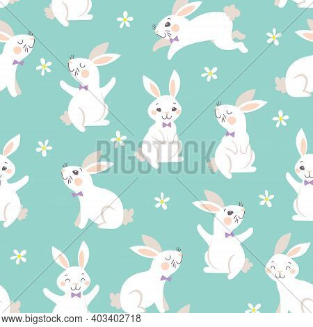 Bunny Seamless Pattern. Happy Easter. Happy Cute Easter Bunnies. Vector Seamless Texture With Many F