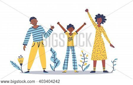 Black Family: Woman, Man, Child Standing Together. Concept: Diversity, Equality, Tolerance Anti-raci
