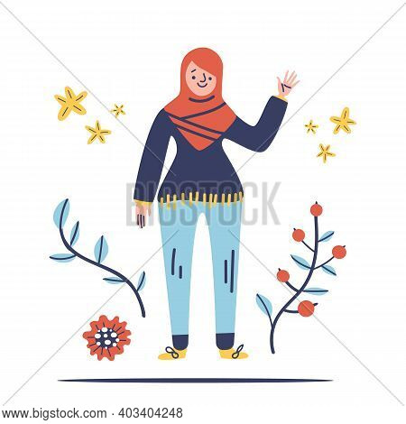 Modern Hijab Woman In Hand Drawn Style Isolated On White Background. Muslim Vector Illustration With