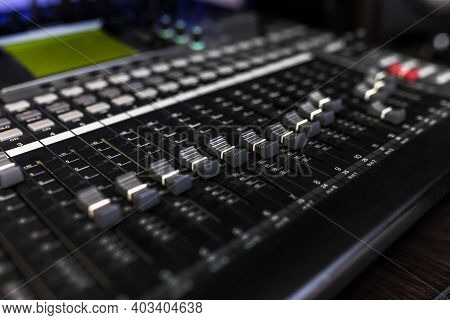 Close Up Mixer In The Record Studio For Dj, Song Writer Or Musical Producer. Photo Of Musical Instru