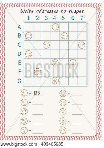 Logic Game For Children. Arrange Addresses Of Shapes