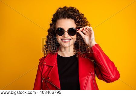 Close-up Portrait Of Her She Nice Pretty Cheerful Fashionable Wavy-haired Girl Touching Round Specs