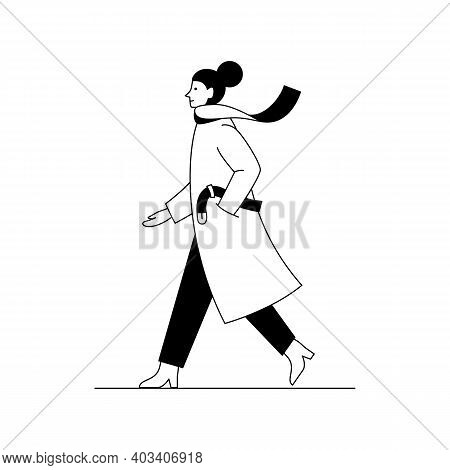 Stylish Woman Walking Down The Street Wearing Coat And Scarf. Outline Vector Illustration Of A Woman