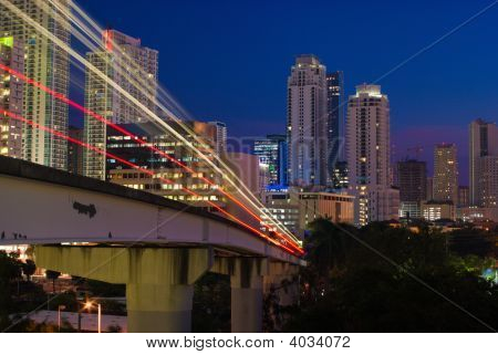 Urban Elevated Train At Night