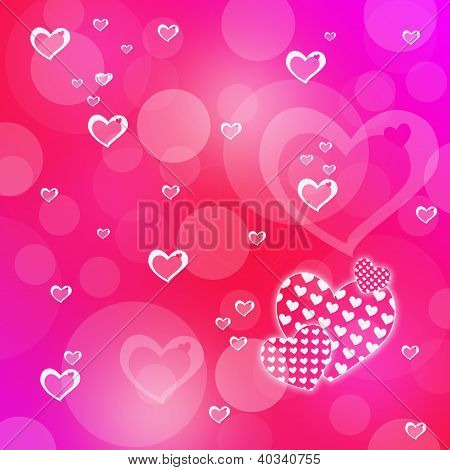 Pink Abstract Romantic Background With Hearts