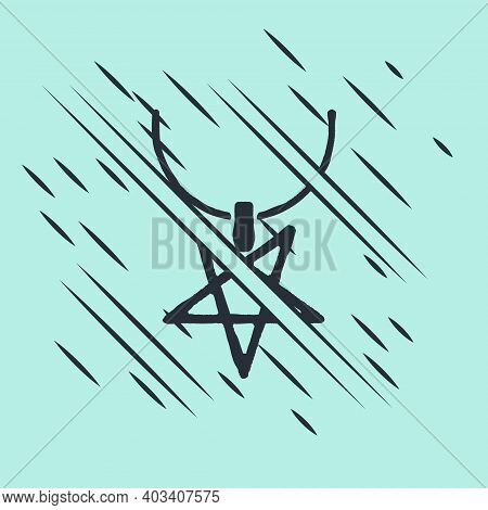 Black Pentagram On Necklace Icon Isolated On Green Background. Magic Occult Star Symbol. Glitch Styl