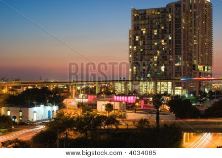 Colorful Cityscape With Viaduct