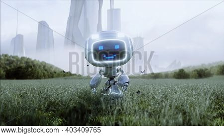 Funny Toy Robot In The Meadow On The Background Of A Futuristic City. Future Concept. 3d Rendering.