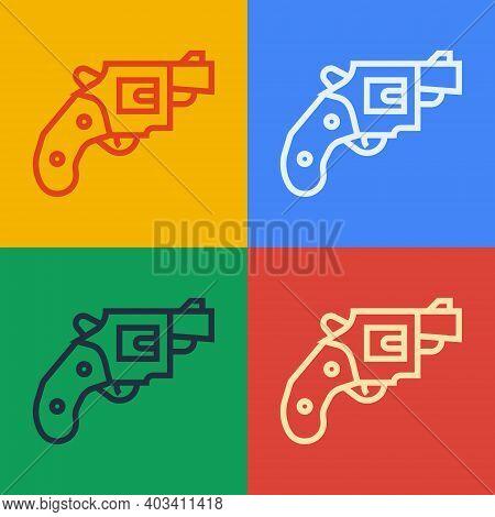 Pop Art Line Small Gun Revolver Icon Isolated On Color Background. Pocket Pistol For Self-defense. L
