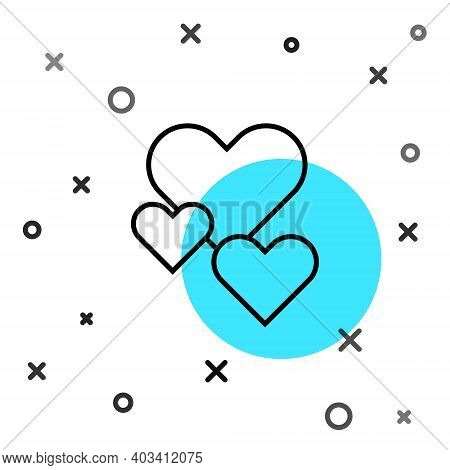 Black Line Heart Icon Isolated On White Background. Romantic Symbol Linked, Join, Passion And Weddin